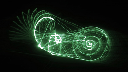 Snail Trail, artwork by Philipp Artus (3D-Laser Animation)