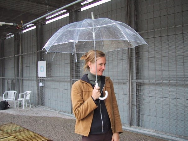 Anna Kindvall holding an umbrella (part of RainDance is an interactive sound installation at Ars Electronica 2005 by Paul DeMarinis