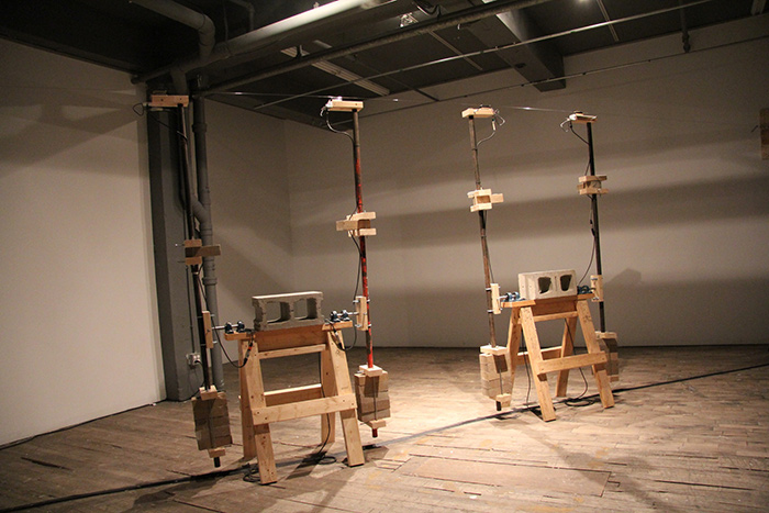 Pendulum Music On A Long Thin Wire, sound installation by Peter Flemming