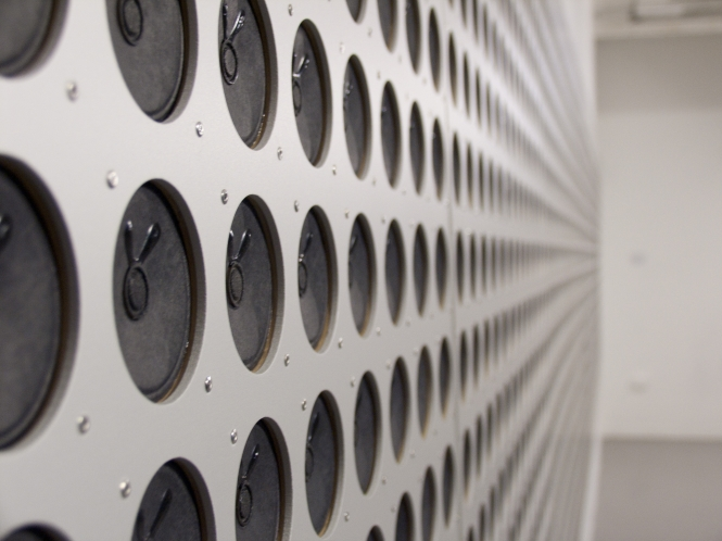 Detail of Microtonal Wall by Tristan Perich